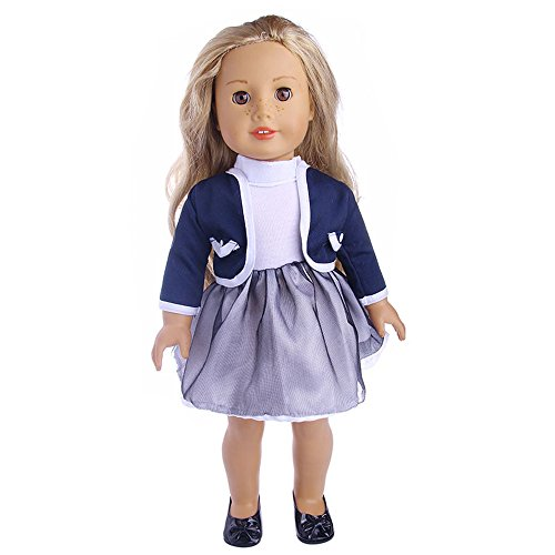 (AMOFINY Cute Pleated Dress With Jacket Generation American Girl Doll For 18 Inch)