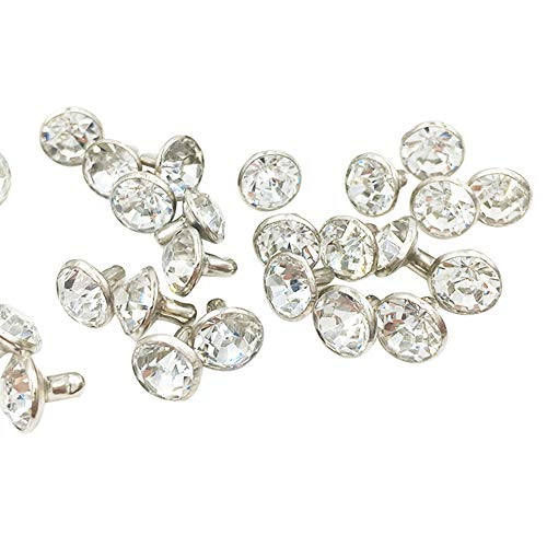 100 Sets Cz Colorful Crystal Rapid Rivets Silver Color Spots Studs Double Cap for DIY Leather-Craft (Clear White, 8MM)