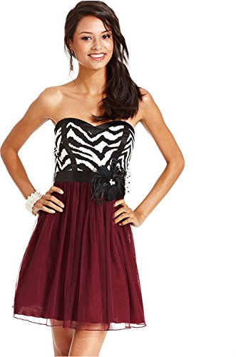 (City Studio Strapless Zebra-Print Belted A-Line Party Homecoming Dress, 7)