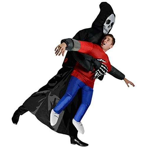 Inflatable Grim Reaper Halloween Scary Skeleton Fancy Dress Cosplay Costume, Multi, One Size -