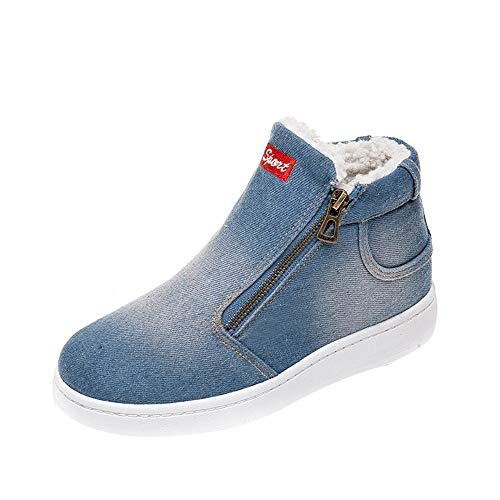 Shusuen ✿‿✿ Women's Fashion Denim Casual Shoes Slip on Sneakers Warm Fleece Lined Zipper Shoe ()