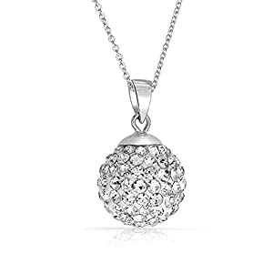 Shamballa Necklace White Crystals from Swarovski 18 ct White Gold Plated Silver 925 Pendant