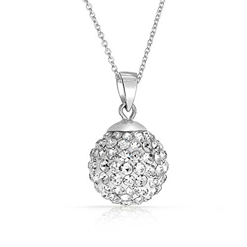 (Crystals from Swarovski 18 ct Gold Plated Disco Ball White Pendant Necklace for Women 18