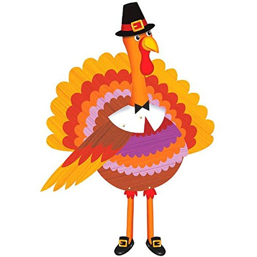 Thanksgiving Ochre Paper Turkey Jointed Cutout | Party Decoration
