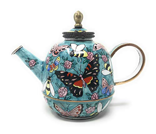 Kelvin Chen Butterflies and Bumblebees Enameled Miniature Teapot with Hinged Lid, 4.25 Inches Long