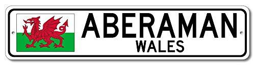 "The Lizton Sign Shop Aberaman, Wales Aluminum Welsh Flag Sign, Wales Custom Flag Sign - 6""x24"""