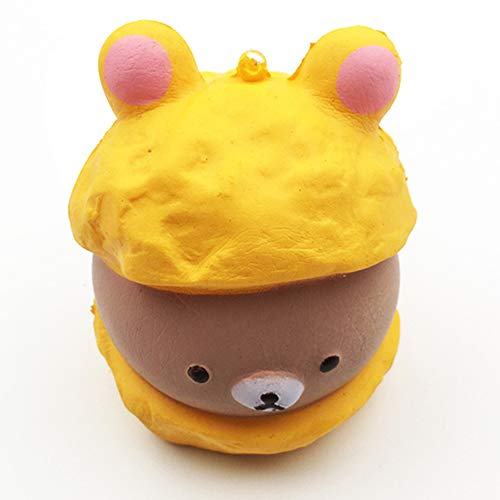 L.DONG Squishy Puff Cake Toys Slow Rising Cream Scented Kawaii Squishies Soft Food Key Chain Decoration Toys for Backpack Phone (Chocolate)]()