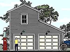 Garage plans two story monitor style 2 car garage plan for Monitor garage plans