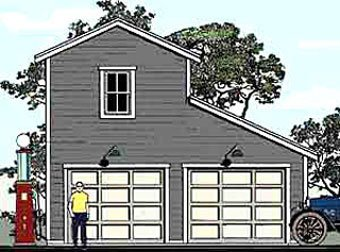 Garage Plans: Two Story, Monitor Style, 2 Car Garage Plan 624-1 - 24' x 26' (Plans Two Story Garage)
