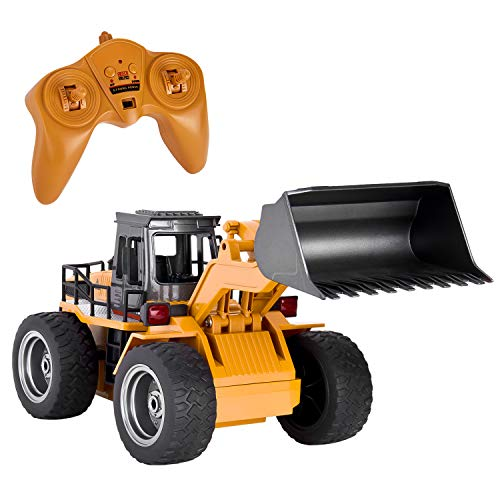 GotechoD Remote Control Construction Toy RC Truck, Alloy Shovel 2.4G RC Vehicle Remote Control Truck Loader RC Bulldozer, 6 Channel 4WD Tractor RC Front Loader for Age 6 Boys Kids Gift