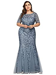 Plus Size Embroidery & Sequins Haze Blue Colour Maxi Dress