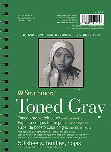 Strathmore Gray Drawing 400 Series Toned Sketch Pad, 5.5″x8.5″, 50 Sheets