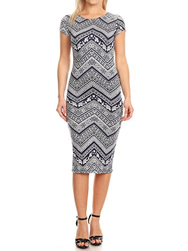 by Printed Dress Navy Cap Casual Women's Con Body Midi Fewdrm0004 Solid Ivory Made Sleeves Emma aCqwad