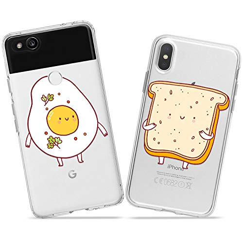 Wonder Wild Egg Toast Pair Case iPhone Xs Max X Xr 10 8 Plus 7 6s 6 SE 5s 5 TPU Clear Gift Apple Phone Cover Print Protective Double Pack Silicone Food Breakfast Bread Scrambled Eggs Cute Kawaii ()
