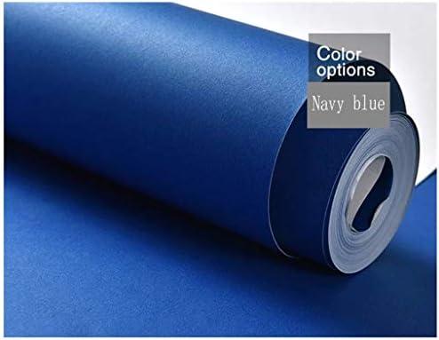 WCX 北欧の不織布壁紙ロールシンプルなプライムカラースタイルのリビングルームのベッドルームスタジオテレビホテルの背景 (Color : Navy Blue, Size : 0.53 x 10m)