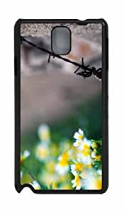 Personalized Samsung Galaxy Note 3 N9000 PC Black Case The Rusty Old Wire And The Flowers
