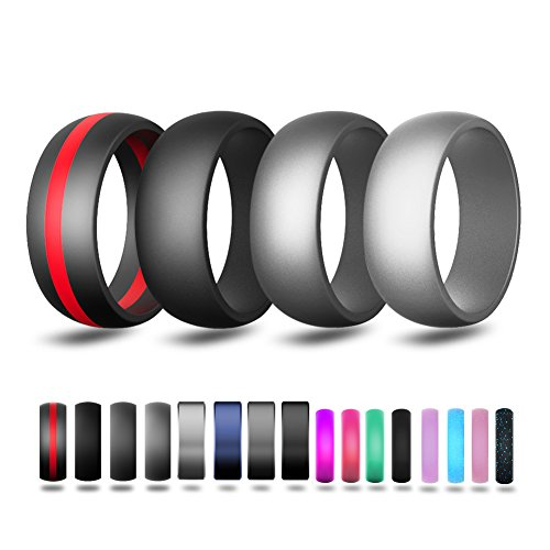 TRAVEL BUS Silicone Wedding Ring for Men,Wedding Bands 4 Rings Pack-8.7 mm Wide,Red Line,Black,Darkl Gray,Gray