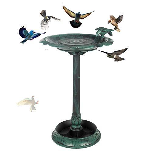 Outdoor Garden Pedestal Bird Bath,2-in-1 Outdoor Garden Bird Bath Feeder with Flower Planter Base for Outdoors,Yard,Garden Deco,Lawn-Antique Gree (Bird Feeder Pedestal)