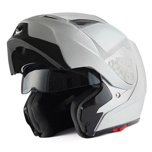 (1Storm Motorcycle Street Bike Modular/Flip up Dual Visor/Sun Shield Full Face Helmet (GlossySilver, Medium))