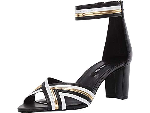Nine West Womens Pearl Heeled Sandal Black/White/Oro 7 6.5 M
