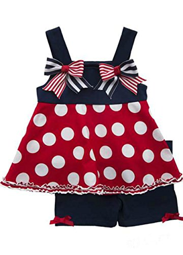 Rare Editions 4th of July Red and White Dot and Navy Short Set (4T)