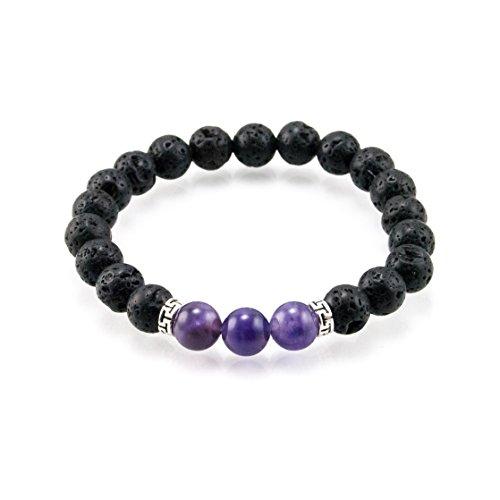 - Oil Diffuser Lava Rock Beaded Stretch Bracelet with Purple Amethyst Gemstone Beads