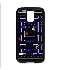 Samsung Galaxy S5 SV Black Rubber Silicone Case - Old School Retro Pac Man Video Game 80's Atari