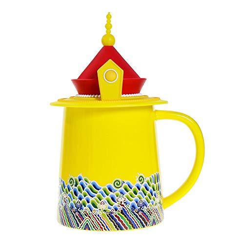 (MonLiya Vintage Coffee Mug Emperor Ceramic Tea Cup 12 Oz Chinese Style Water Bottle Warmer Milk Mug with Lid Retro Printing Hot Water Kettle Imperial Robe Cup Creative Birthday Gift for Women)