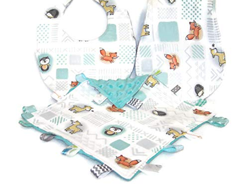 - Block Woodland Creatures Theme Baby Bib, Burp Cloth & Lovie Gift Set