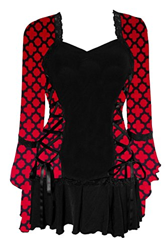 Dare to Wear Victorian Gothic Boho Women's Plus Size Bolero Corset Top Red Queen L