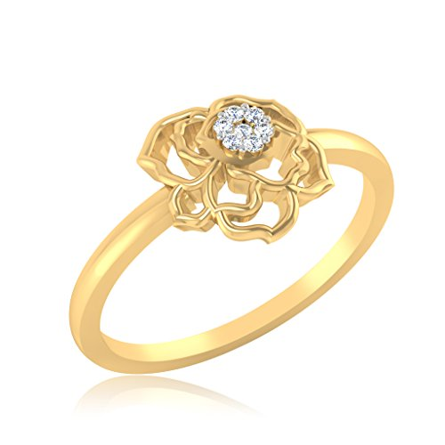 IskiUski 14KT Yellow Gold and American Diamond Ring for Women