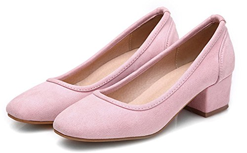Easemax Femmes Mode Douce Orteil Coupe Basse Slip Sur Chunky Chaton Talon Pompes Chaussures Rose