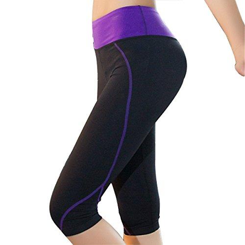 Las Mujeres De Cintura Alta Aptitud Sport Pantalones De Yoga Siete Puntos Legging Medias 2 Paquete Purple