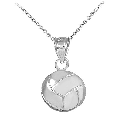 14k White Gold Beach Volleyball Charm Pendant Necklace, 16