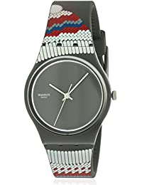 Swatch Gornegrat Black Dial Red and Grey Silicone Mens Watch GM183