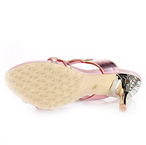 Womens Sparkle Sexy Party Microfiber Exquisite Slippers Sandals Prom CRC Wedding Mary Pink Rhinestone Jane XdqXHw