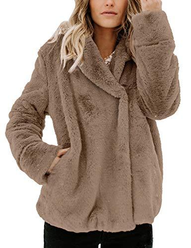 Utyful Women's Casual Faux Fur Fuzzy Fleece Lapel Collar Pocket Jacket Coat Brown Size S (Fur Coat Collar Notched)