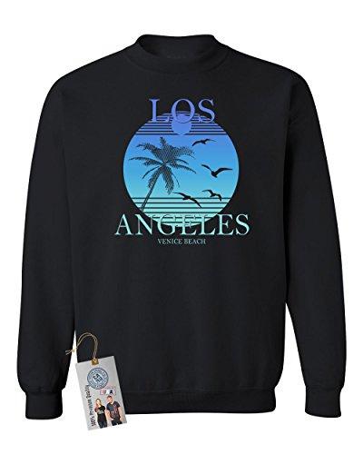 (Custom Apparel R Us Los Angeles Venice Beach Summer Crewneck Sweatshirt Black 2XL )