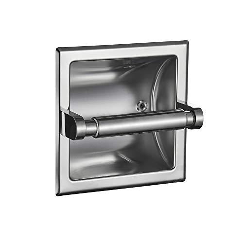JunSun Polished Chrome Recessed Toilet Paper Holder Wall Toilet Paper Holder Recessed Toilet Tissue Holder Toilet Paper Bracket Stainless Toilet Paper Holder Rear Mounting Bracket Included