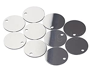 "25 Pack - CleverDelights 1"" Round Aluminum Stamping Blanks - Shiny Anodized Finish - 20 Gauge (.031"")"
