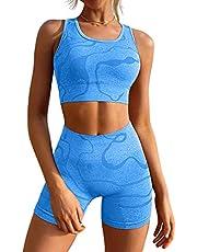 GXIN Women's Workout 2 Piece Outfits High Waist Running Shorts Seamless Gym Yoga Sports Bra