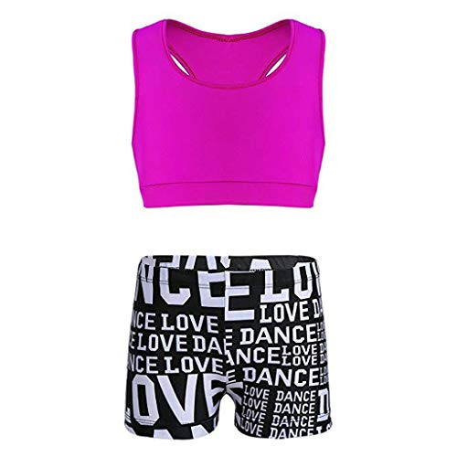 UCQueen Girls' Kids Dance Sport Outfits Racer Back Top + Shorts 2 Piece Active Set Pink