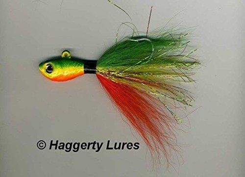 Bucktail Jig-Ultra Minnow Fish Guppy Head-Striper Fluke Rig High Low Flounder Fishing Lure - 1/2 oz to 1.5 oz (Firetiger Perch, 3/4 oz Pk of 2) (Ultra Jig Head)