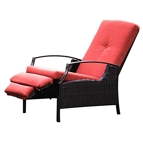 Naturefun Indoor/Outdoor Wicker Adjustable Recliner Chair, Relaxing Lounge Chair with Thick Spunpoly Cushion by NatureFun