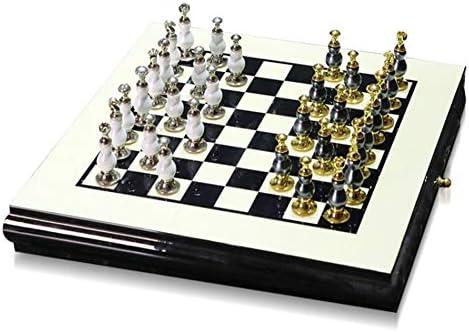 Aiyoudemutou Nordic Ajedrez Adornos, Juego de ajedrez, Blanco y Negro de Madera del Piano Proceso de Pintura Plus Aleación de Zinc Tablero de ajedrez Conveniente for los Regalos (Color : A): Amazon.es: