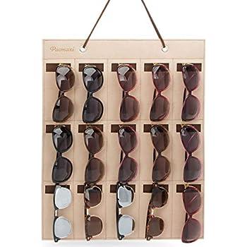 ed3374645 PACMAXI Sunglasses Organizer Storage,Wall Pocket by Sunglasses 15 Slots  Felt (Brown)