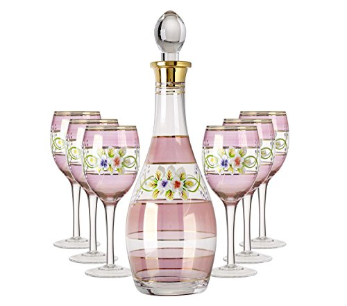 5th Avenue Collection Italian Wine Glasses and Decanter Set with 24k Rim - 7 Piece Set