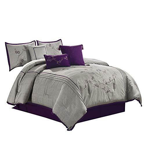 Chezmoi Collection Miki 7-Piece Luxury Purple Cherry Blossoms Floral Embroidery Bedding Comforter Set Full Size, (Renewed)