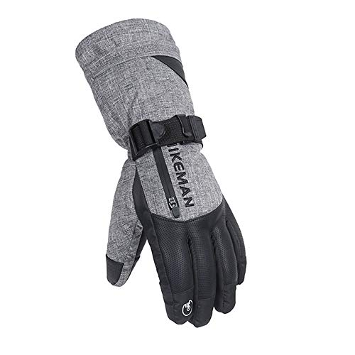 Haluoo Ski Gloves for Women Men, Winter Waterproof Windproof Snowboard Snow Riding 3M Thinsulate Warm Cold Weather Gloves Mittens Wrist Band with Zippered Pocket (x-Large, Gray)