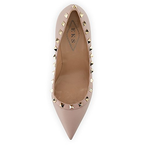 EKS Damen Fllosacf Patch Arbeitskante mit Nieten Stollen High Heels Pointed Toe Pumps Kleid Schuhe Plus Size EU 35-46 Matt-Natürlich